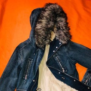 Women denim coat, faux fur cream lining